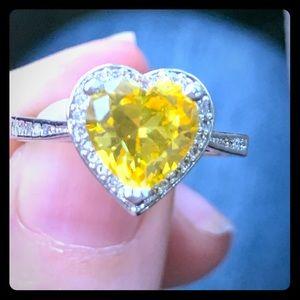 Rhodium heart starburst ring size 9
